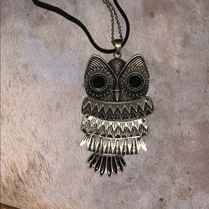 Jewelry - Owl necklace on black cord/chain
